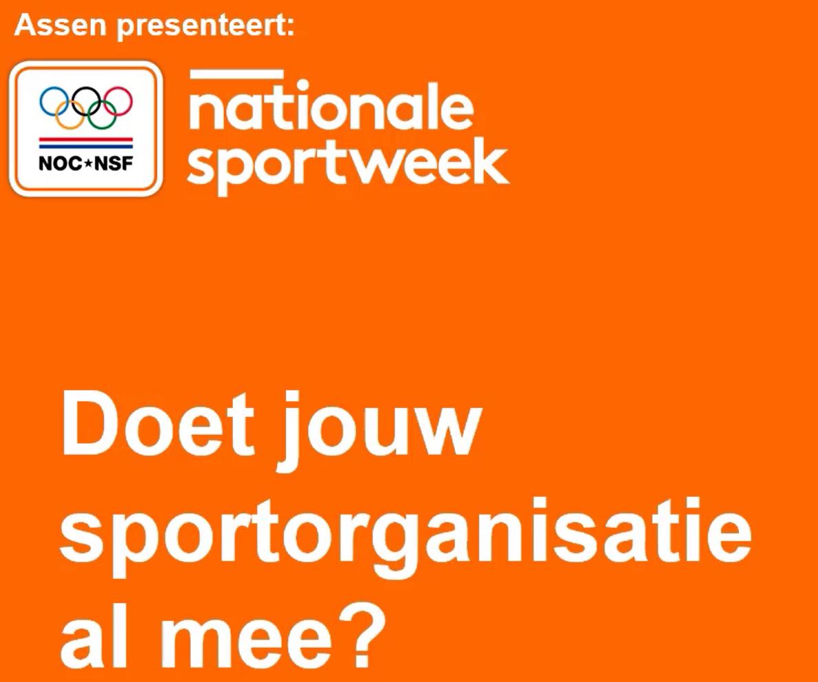 Nationale Sportweek in Assen: 20 - 29 sept. 2019